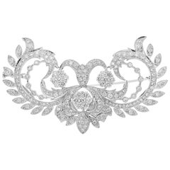 Floral Motif Diamond Brooch or Pendant