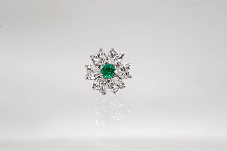 Romantic Floral Motif Interchangeable Diamond Earrings Set with Heart Shape Diamonds For Sale