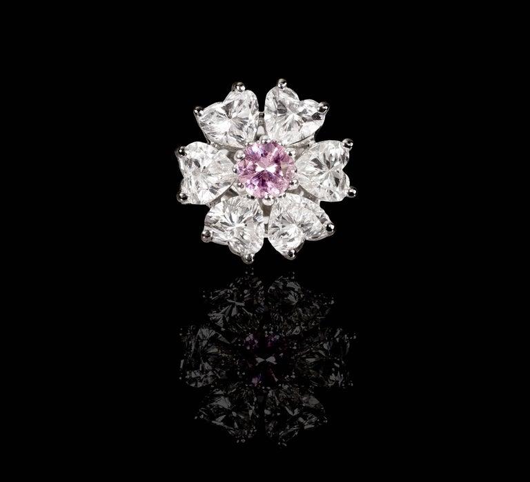 Women's Floral Motif Interchangeable Diamond Earrings Set with Heart Shape Diamonds For Sale