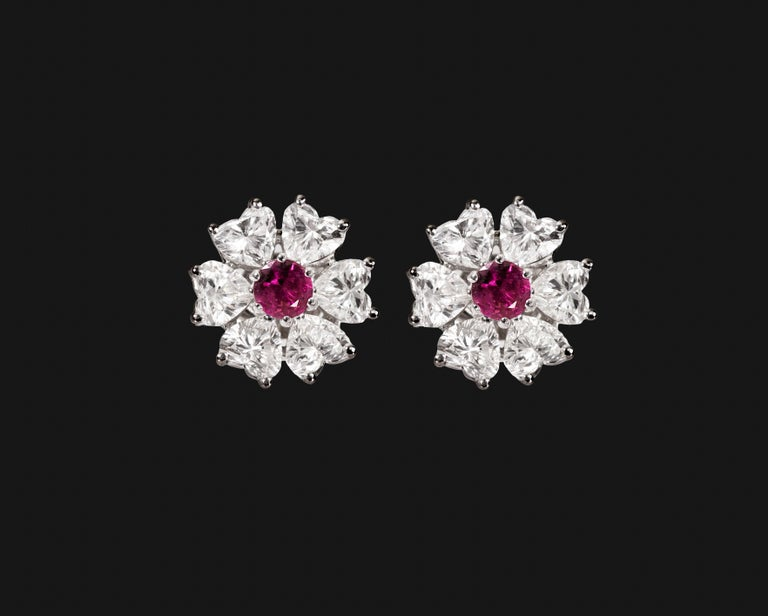 Floral Motif Interchangeable Diamond Earrings Set with Heart Shape Diamonds For Sale 1