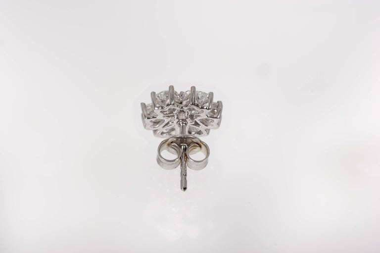 Floral Motif Interchangeable Diamond Earrings Set with Heart Shape Diamonds For Sale 2