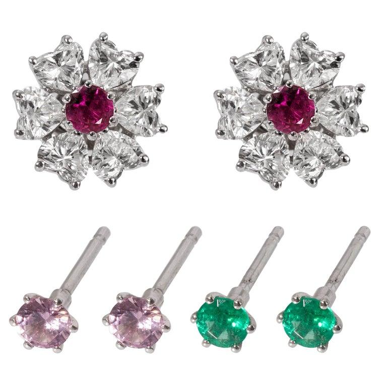 Floral Motif Interchangeable Diamond Earrings Set with Heart Shape Diamonds For Sale