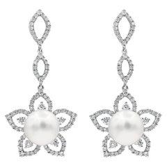Roman Malakov, Floral Motif Pearl and Diamond Dangle Earrings