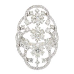 Floral Navette Style Diamond Ring in 18 Karat White Gold