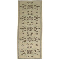 Floral Neutral Wool Handmade Turkish Small Runner