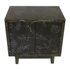 Floral Nightstand in Antiqued White Metal over MDF