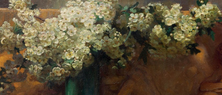 Floral Oil Painting Dogwood Flowers with Architectural Frieze, 19th Century In Good Condition For Sale In Rochester, NY