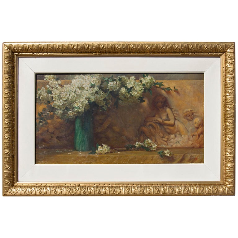 Floral Oil Painting Dogwood Flowers with Architectural Frieze, 19th Century For Sale