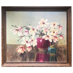 Floral Oil Painting in Wooden Frame