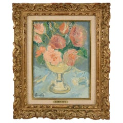 Floral Oil Still Life British Artist Alexander Beattie Carved Gold Wood Frame