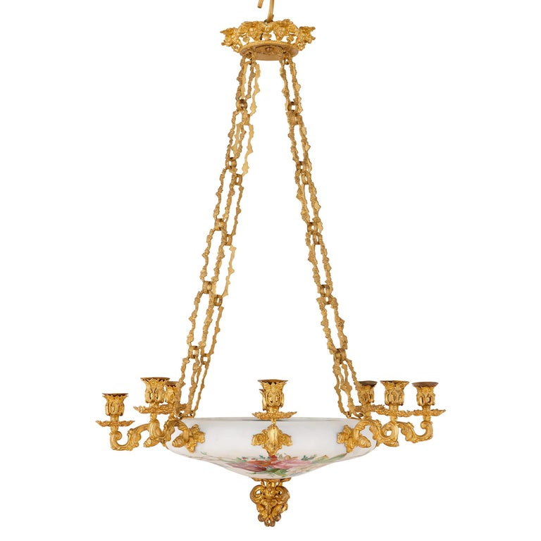 Floral Opaline Glass and Gilt Bronze Chandelier For Sale