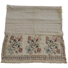 Floral Orange and Green Turkish Embroidered Linen and Silk Textile