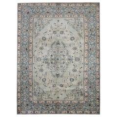 Floral Oriental Rug, Handmade Carpet Olive Green Wool Area Rug