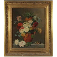 Floral Original Oil on Canvas Artist Signed H E De Castro, Late 18th Century
