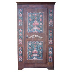 Blue and Brown Floral Painted Wardrobe, 1829, Central Europe