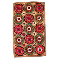 Floral Patterned Asian Suzani Textile, Embroidered Cotton and Silk Wall Hanging