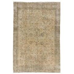 8x11.8 Ft Antique Washed Vintage Turkish Oushak Rug. Wool Carpet. Floor Covering