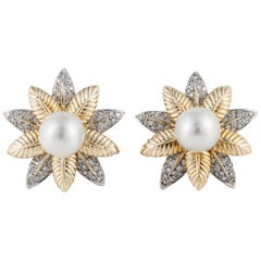 Floral Pearl and Diamond Earrings in 18 Karat Yellow Gold