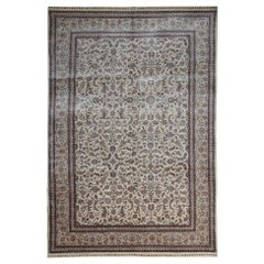 Floral All Over Design Rugs Chinese Oriental Cream Rug Carpet Pure Silk Rug