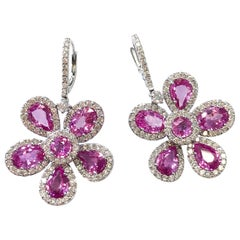 Floral Pink Sapphire and Diamond Dangle Earrings in 18 Karat White Gold