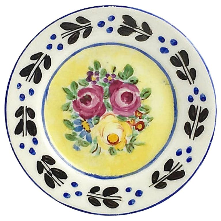 Floral Plate Porcelain Menu Holder For Sale