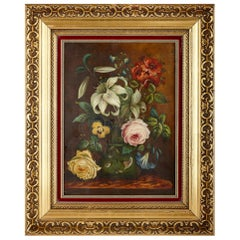 Floral Porcelain Plaque Painted by Edwin Steele