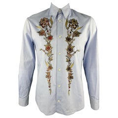 FLORAL PRINT DRESS SHIRT NEW JUST CAVALLI Size XXL Light Blue Glitter Shirt