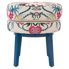 Floral Print Small Round Stool