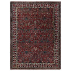 Floral Red and Blue Antique Persian Tehran Wool Rug