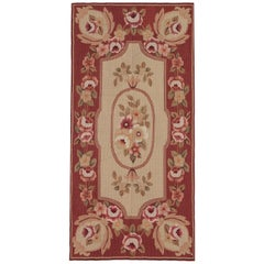 Floral Red Carpet, Aubusson Rugs Handmade Rug Needlepoint Flat-Weave Rug