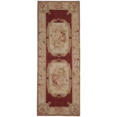 Floral Red Carpet Medallion Aubusson Rugs, Needlepoint Flat-Weave Rug