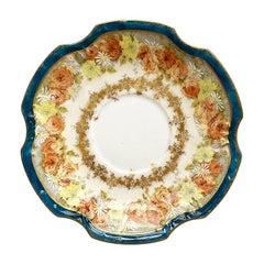 Floral Rich Blue Limoges Ceramic Coiffe Saucer, Limoges, France, 1800s