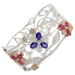 Floral Ruby Sapphire Diamond Bracelet 18 Karat Gold