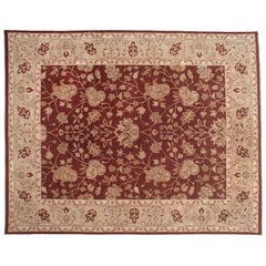 Floral Rug in Red and Beige