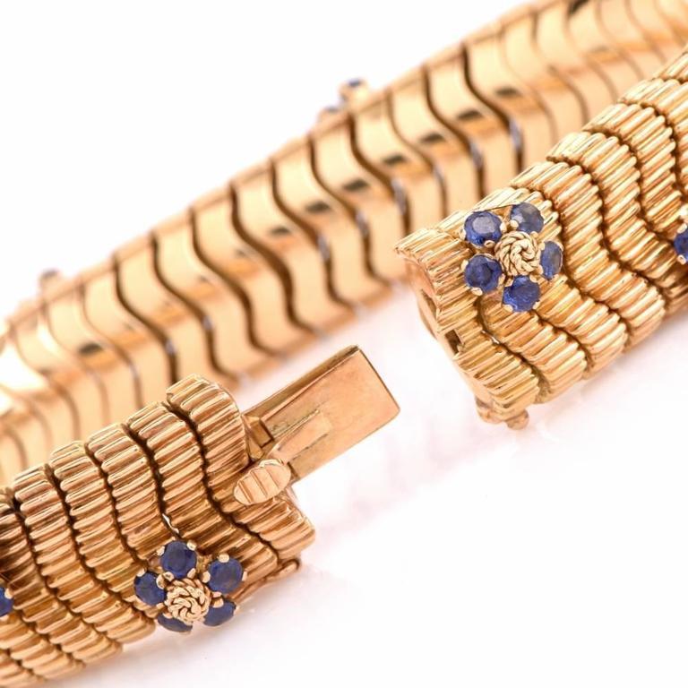 Women's or Men's Floral Sapphire Diamond Yellow Gold Snake Bracelet For Sale