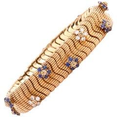 Floral Sapphire Diamond Yellow Gold Snake Bracelet