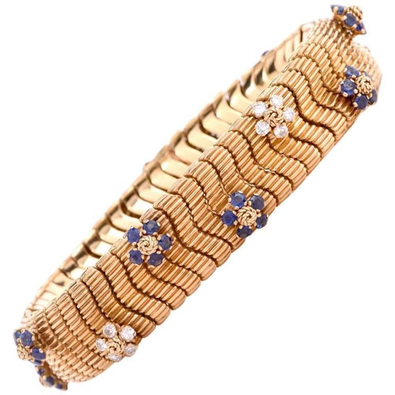 Floral Sapphire Diamond Yellow Gold Snake Bracelet For Sale