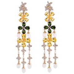Floral Sapphire Tourmaline Moonstone and Diamond Earring in 18 Karat Yellow Gold