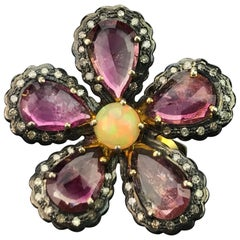 Floral Shaped Tourmaline and Opal Silver Cocktail Ring