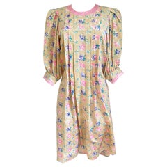 Floral Silk Jacquard Shift with Puff Sleeves - FLORA KUNG new but with FLAW