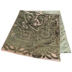 Floral Silk Velvet Gaufrage Green Throw