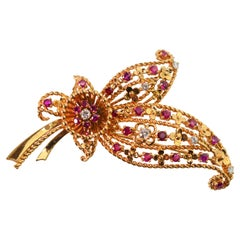 Floral Spray Brooch with Ruby Diamond Accents
