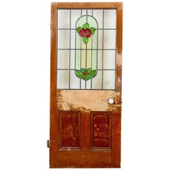 Floral Stained Glass Lead Panelled Pine Door, 20th Century