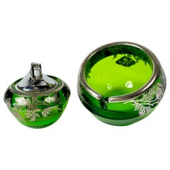 Floral Sterling Silver Green Glass Orb Ashtray Lighter Smoke Set by Viking Glass