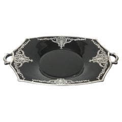Floral Sterling Silver Overlay Black Amethyst Glass Handled Serving Tray
