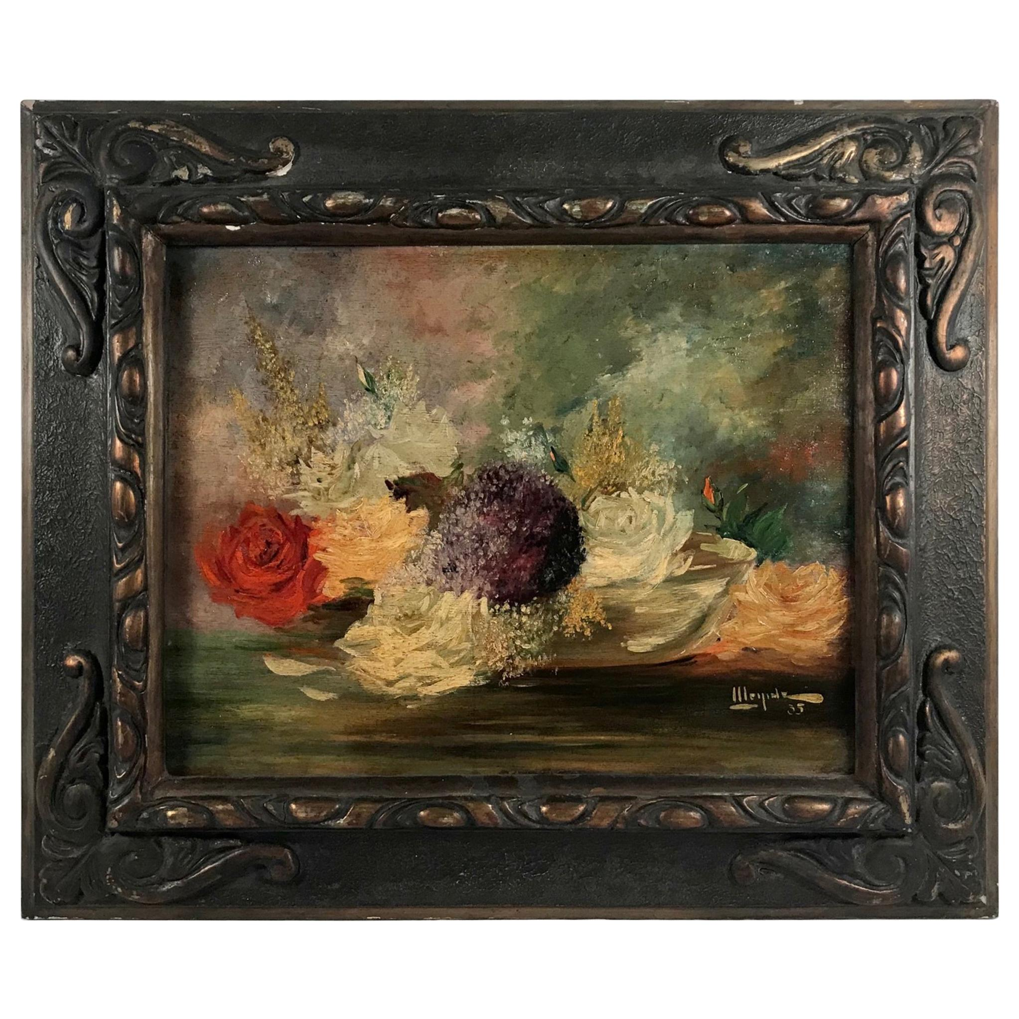 Floral Still Life, Framed Oil on Wood, Signed and Dated, 1935