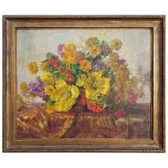 Floral Still Life Oil Painting with Beautiful Original Frame, 1940s
