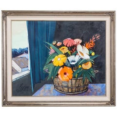 Floral Still Life Painting by Charles Levier, 1970s, Signed