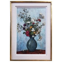 Floral Still Life Painting by Manes Lichtenberg, 1950s