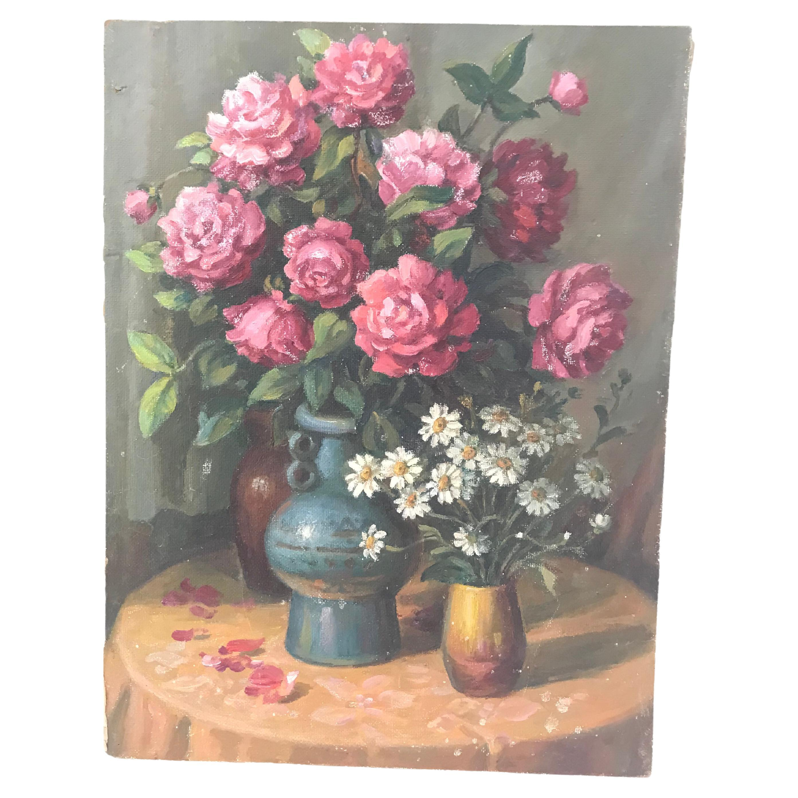 Floral Still Life with Roses Oil on Board
